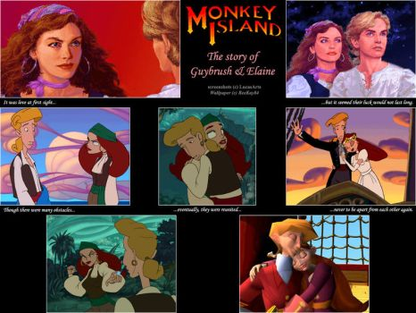 Guybrush and Elaine Wallpaper by MutantPiratePrincess
