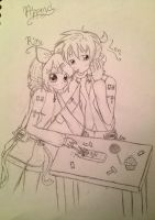 Rin and Len Append sketch by HatsuneMiku012