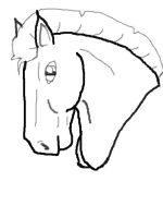 Free Horse Head line-art STALLION by DreamDrifter91