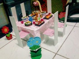 Dining Table and Chair for Barbie and Monster High by seawaterwitch