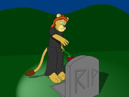 Rae Laying a Flower by a Grave by KBAFourthtime