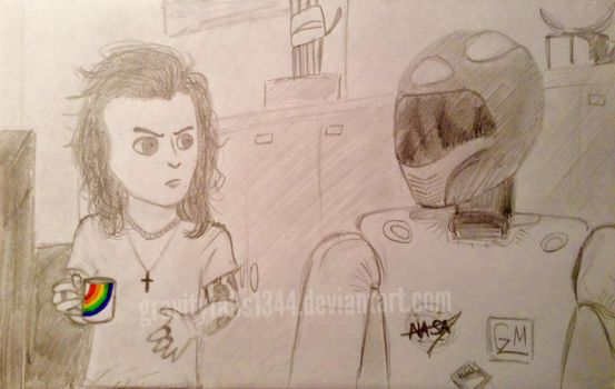 Drag Me Down - Harry with the robot by gravityfalls1344