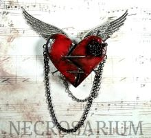 Cupid's Dying Heart Brooch by Necrosarium
