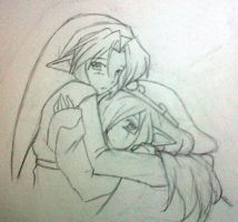 Link and Vaati Sketch by blackorchid2007