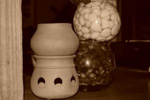 Sepia Pot and Peppers by crystal-koi-fish