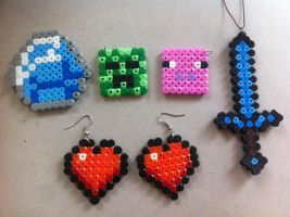 Minecraft jewelry set by KreugerBlueEyes