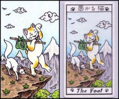 The Fool maneki neko tarot by crokittycats