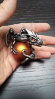 Silver Black Dragon Christmas Ornament by AstridMakosla