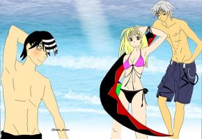 Beach time: Soul, Maka and Kid by shiniia