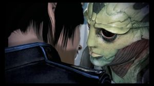 Thane and Shepard Kiss - Mass Effect 3 by loraine95