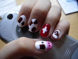 Swiss Cow nails by SarahJacky