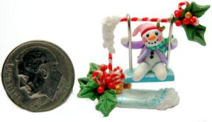 FROSTY SNOWMAN CHRISTMAS SWING by WEE-OOAK-MINIATURES