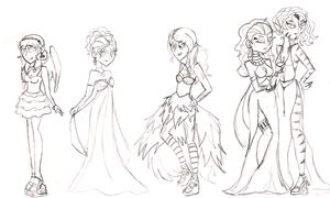 MH: Prom Sketches by KPenDragon