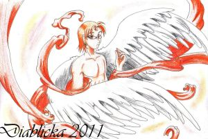 Archangel Fire red ribbons by Diablicka