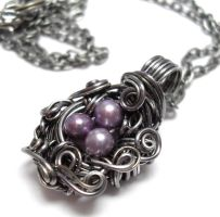 Nest Adorned Necklace- Purple by sojourncuriosities