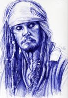 Jack Sparrow pen sketch by Bluecknight