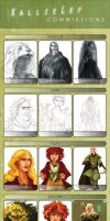 Commissions Pricing and Example Sheet by kallielef