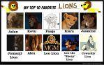 My 10 Favorite Lions by FlyingLion76