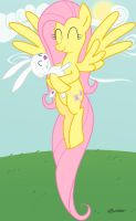 Fluttershy and Angel by TwiddleChimp