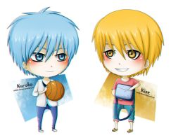 Chibi Kuroko and Kise by Outside-Observer