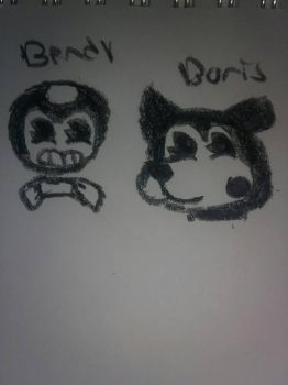 Bendy and Boris color pencil version  by peridot-the-gem-8