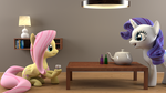 Rarity and Fluttershy meeting for some tea by pyr0cat