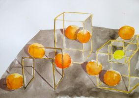 Still live  metal frames with oranges by maro-nooga