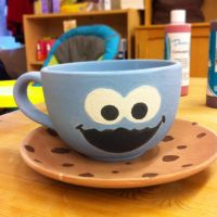 cookie monster hand painted mug by xmy-craftsx