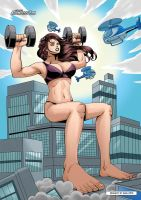 Buff Giantess Shoulder Press on Building by giantess-fan-comics