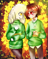 Asriel and Chara by SooJi-Oh