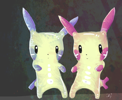 Plusle and Minun by Toesies
