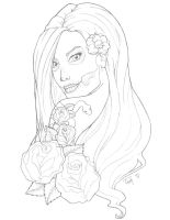 skullface lady Tattoo Design by TashOToole