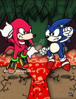 Sonic : Knuckles Volcanic Showdown by SlySonic