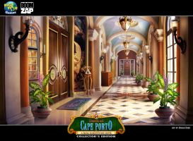 Death at Cape Porto: Museum Hallway by Wolfie-chama