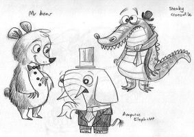 Steaky, Mr Bear, and Elephant by MelDraws