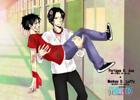 Ace and Luffy at school by Kera--chan