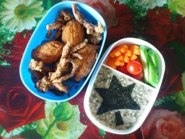 ika tempura potato poppers oatmeal bento by plainordinary1