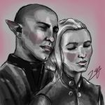 My Inquisitor and Solas by zazafras
