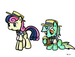 Lyra and Bon Bon as Flim and Flam by NasseSeta