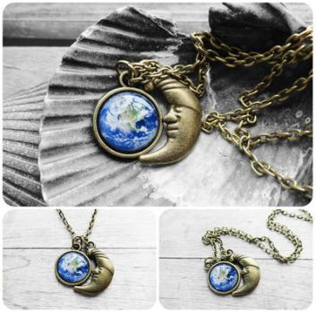 Handmade Resin Earth Antique Bronze Necklace by crystaland