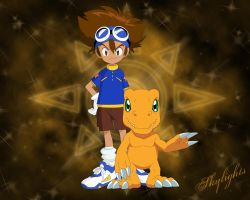 Taichi and Agumon by skylights01