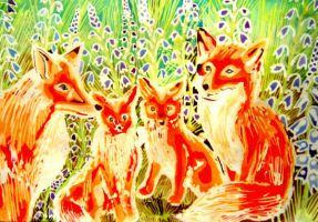 Batik Family Foxes by dawndelver