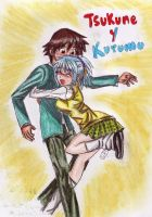 tsukune and kurumu by aranelia