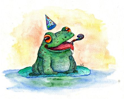 Happy Chubby Party Frog by Rednon