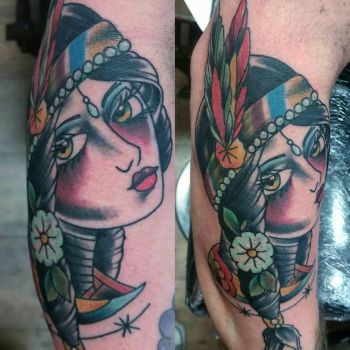 native indian girl tattoo by thirteen7s