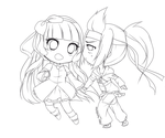 Commish: Couple chibis by CaramelCaprice