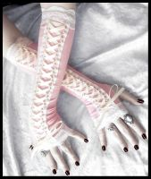 Sugar Maiden Victorian Corset Laced Up Arm Warmers by ZenAndCoffee