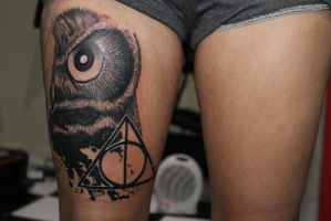 Harry Potter owl tattoo by grandevoodoo