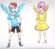 MLP:FiM- Humanized Filly Dashie and Fluttershy by Yo-yo-girl12