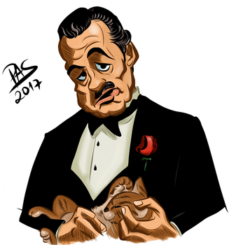 Godfather caricature with color by pedro-amaral-couto